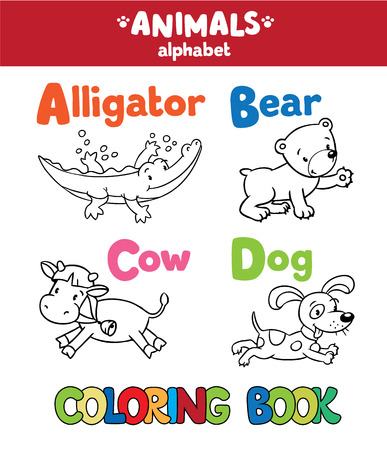 cow bells: Coloring book or coloring picture of funny alligator, bear, cow and dog. Animals zoo alphabet or ABC.
