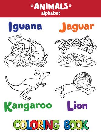 jaguar: Libro para colorear o imagen coloración de iguana divertida, el jaguar, el canguro y león. Animales alfabeto zoológico o ABC. Vectores