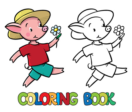 pigling: Coloring book or coloring picture of walking little funny piglet in yellow hat and t-shirt with shorts.