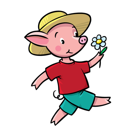 porker: Children vector illustration of walking little funny piglet in yellow hat and t-shirt with shorts.