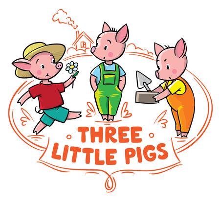 cochinitos: Ilustración infantil del vector para el cartel o tarjeta de lechones divertidas del cuento de hadas tres cerditos