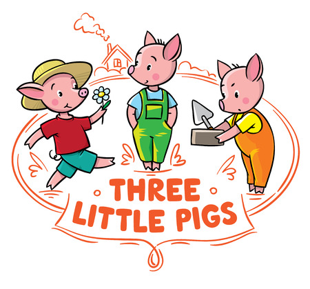 Children vector illustration for poster or card of funny piglets from fairy tale Three Little Pigs