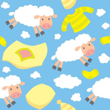 mosca caricatura: Patr�n sin fisuras con ovejas divertidas que vuelan en el cielo entre las mantas, almohadas, pijamas, calcetines y las nubes