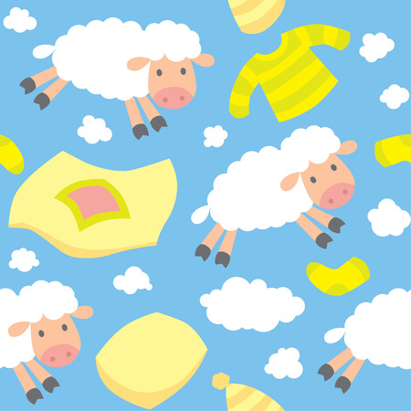 coverlet: Seamless pattern with funny sheeps flying in the sky among blankets, pillows, pajamas, socks and clouds