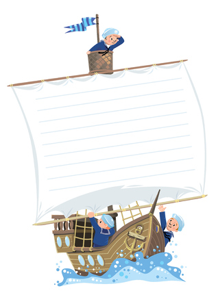 sailer: Wooden sailboat with a team of Jolly boys-sailors in vests and sailor hats. Template background with banner in the shape of a sail. Illustration