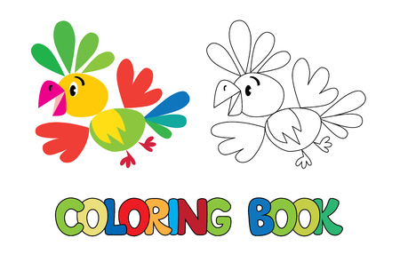 cartoon parrot: Coloring book or coloring picture of funny cute parrot with example of coloring Illustration