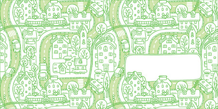 bezel: Square double-sided greeting card with a vector picture of the city with streets and houses with trees and roofs and a window for text