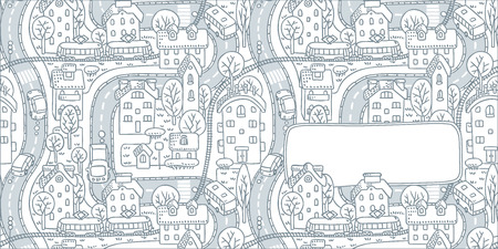 grass area: Square double-sided greeting card with a vector picture of the city with streets and houses with trees and roofs and a window for text
