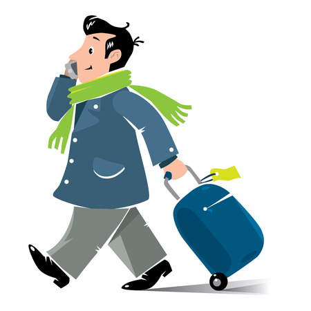 telephone cartoon: Vector illustration of funny fast-paced man passenger with suitcase and phone in coat and scarf Illustration