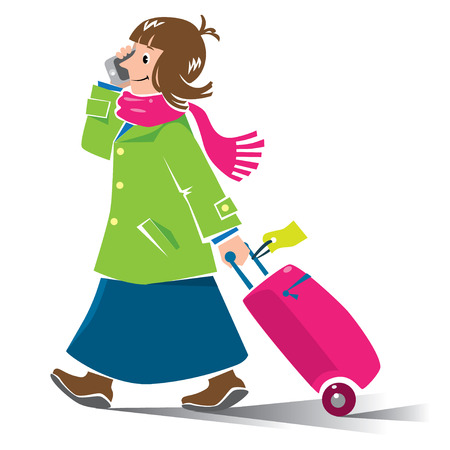 woman in scarf: Vector illustration of  funny fast-paced woman passenger with suitcase and phone in coat and scarf Illustration