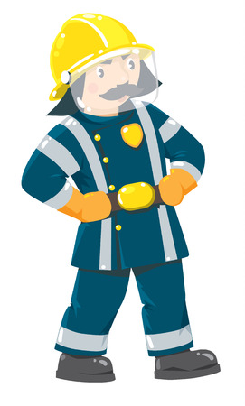 suppression: Serious funny firefighter or fireman with a mustache in the yellow helmet and uniform with reflective elements. Childrens vector illustration Illustration