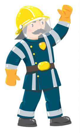 jumpsuit: Serious funny firefighter or fireman with a mustache in the yellow helmet and uniform with reflective elements raised his hand up. Childrens vector illustration
