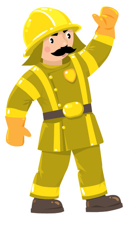 suppression: Serious funny firefighter or fireman with a mustache in the yellow helmet and retro uniform with reflective elements raised his hand up. Childrens vector illustration Illustration