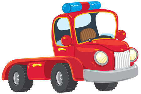 Funny red old-styled toy tow truck with blue blinker. Children illustration.