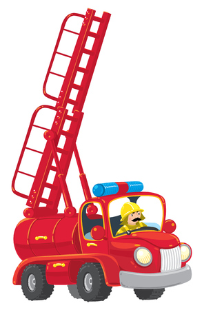 Funny red old-styled toy fire truck with the ladder raised with a fireman. Children illustration. Иллюстрация