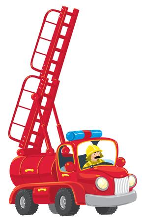 Grappige rode oude-stijl speelgoed brandweerwagen met de ladder verhoogd met een brandweerman. Kinderen illustratie. Stock Illustratie