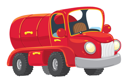 tank car: Funny red old-styled toy tanker truck . Children vecror illustration. Illustration