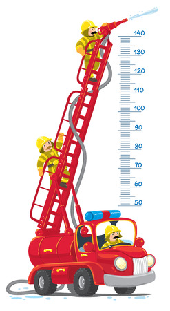 Meterwall or height meter with funny red old-styled toy fire truck or firemachine with the raised folding ladder and three small fireman. Children vector illustration. 向量圖像