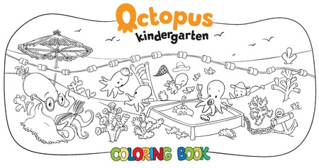 school baby: Big coloring book set with cheerful funny small octopuses in kindergarten on the seabed, with octopus nurse and playing baby octopuses on playground. Illustration