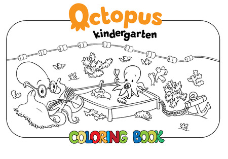 seabed: Big coloring book set with cheerful funny small octopuses in kindergarten on the seabed, with kindergarten teacher octopus  and playing baby octopuses on playground.