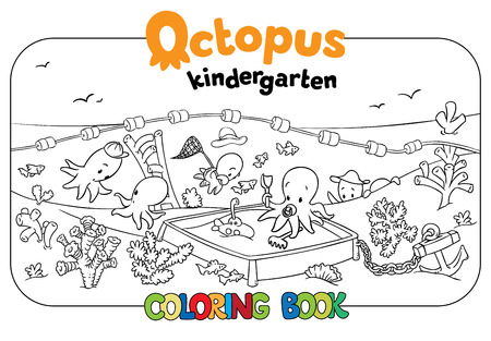 fish net: Coloring book set with cheerful funny small octopuses in kindergarten on the seabed. Baby octopuses playing on playground. Illustration