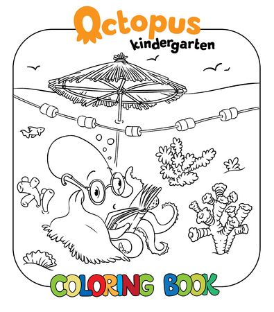seabed: Coloring book with funny reading octopus in glasses and plaid with umbrella on thr seabed Illustration