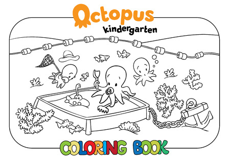 school baby: Coloring book set with cheerful funny small octopuses in kindergarten on the seabed. Baby octopuses playing on playground. Illustration