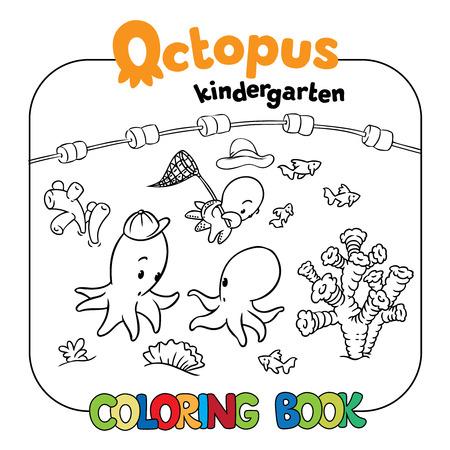 Gran Libro Para Colorear Conjunto Con Alegres Pequeños Pulpos ...