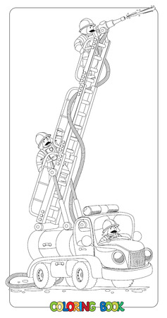Coloring book or coloring picture with funny old-styled toy fire truck or firemachine with the raised folding ladder and three small fireman. Children illustration.
