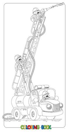 Libro de colorante o una imagen divertida de colorear con carro viejo estilo de bomberos de juguete o firemachine con la escalera plegable elevada y tres pequeñas bombero. Ejemplo de los niños.