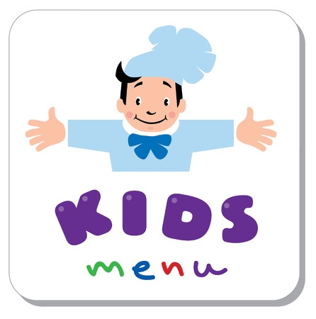 luncheon: Sticker with illustration of little funny boy cook or chief and  Kids Menu