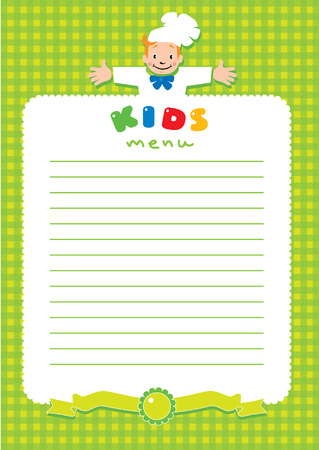 Design template background with illustration of little funny boy cook or chief, Kids Menu and place for text