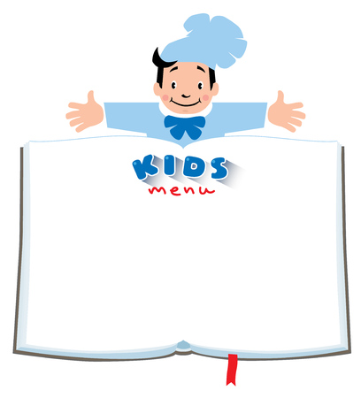 luncheon: Design template background with illustration of little funny boy cook or chief, Kids Menu and place for text in the shape of a book.
