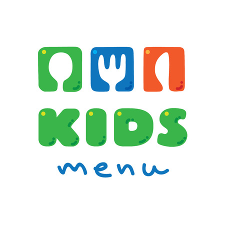 lunch room: Kids Menu with illustration of funny spoon, fork and knife Illustration