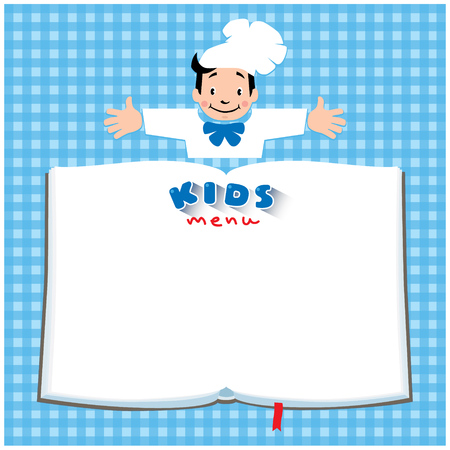 Design template background with illustration of little funny boy cook or chief, Kids Menu and place for text in the shape of a book.