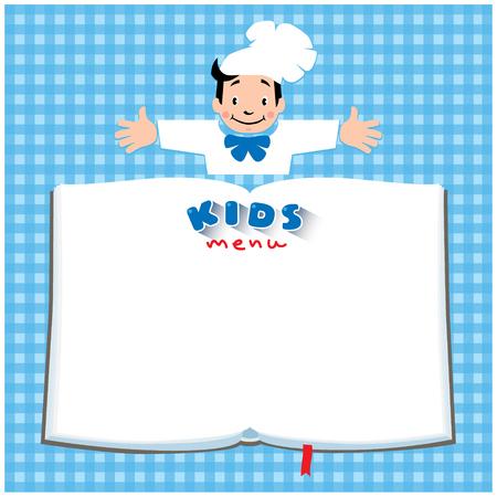 Projekt szablonu tła z ilustracji małego wesołego chłopca kucharza lub szefa, dzieci menu i miejsce dla tekstu w kształcie książki.