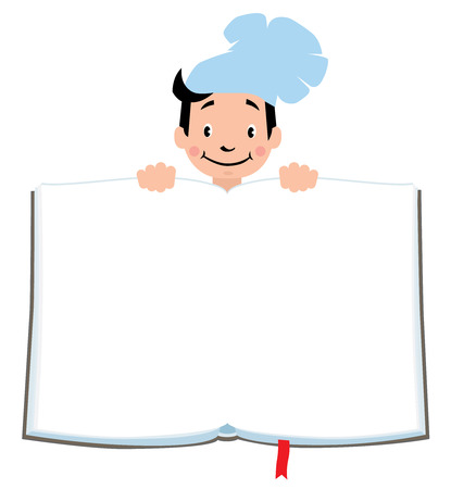 luncheon: Design template background with illustration of little funny boy cook or chief, for Kids Menu or recipe and place for text in the shape of a book.