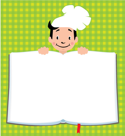 kitchener: Design template background with illustration of little funny boy cook or chief, for Kids Menu or recipe and place for text in the shape of a book.