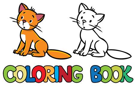 Libro De Colorante O Colorante Cuadro De Saltar O Volar Pequeño Gato ...