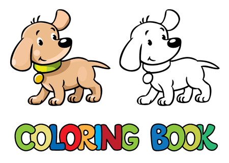 surprised dog: Coloring book or coloring picture of funny little surprised dog or puppy.