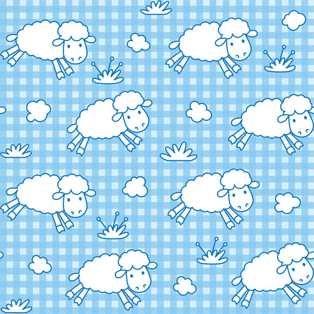 sleeping room: Seamless pattern with funny sheeps with the clouds on checkered background