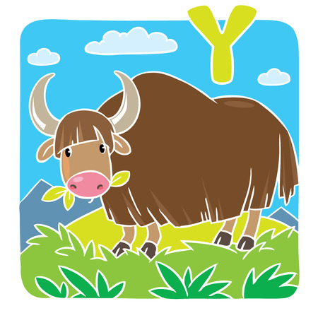 grazing: Children illustration of funny grazing wild yak. Alphabet Y Illustration