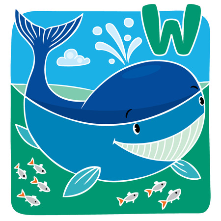 cartoon whale: Children illustration of funny little whale in the sea. Alphabet U