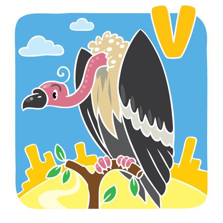 prairie: Children illustration of funny vulture sitting high on a branch above the Prairie. Alphabet U Illustration