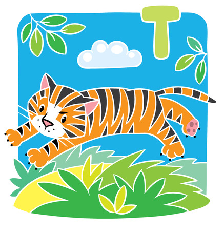 jungle jumping: Children illustration of little funny tiger jumping out of the jungle. Alphabet T