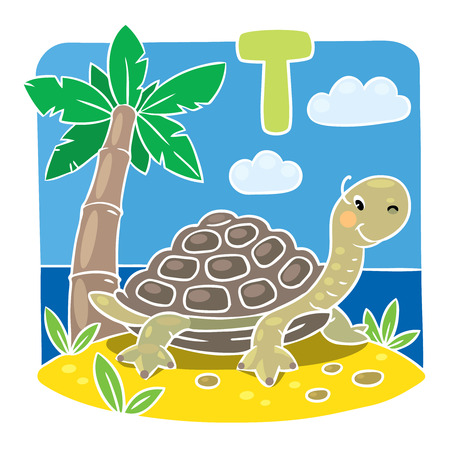 seacoast: Children illustration of little funny turtle on the sand near the palm. Alphabet T
