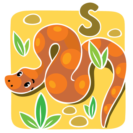 boa: Children illustration of funny snake or boa, crawling through the desert. Alphabet S Illustration