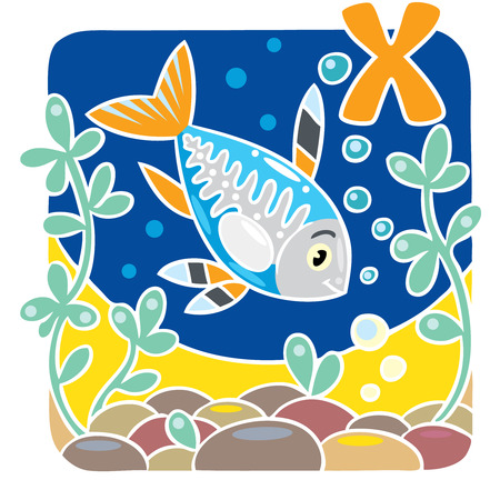 animals x ray: Children illustration of funny little x-ray fish in the sea, near the seabed. Alphabet X Illustration