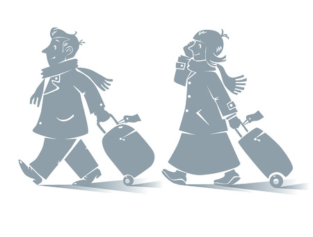 cartoon wind: Vector contour illustration of funny fast-paced passengers, man and woman with suitcases and phones in coats and scarfs