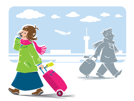airport cartoon: Vector illustration of  funny fast-paced passengers, man and woman with suitcases and phones in coats and scarfs with airport background
